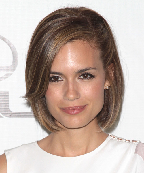 Torrey DeVitto Medium Straight Formal Bob Hairstyle with Side Swept Bangs - Light Brunette (Chestnut) Hair Color