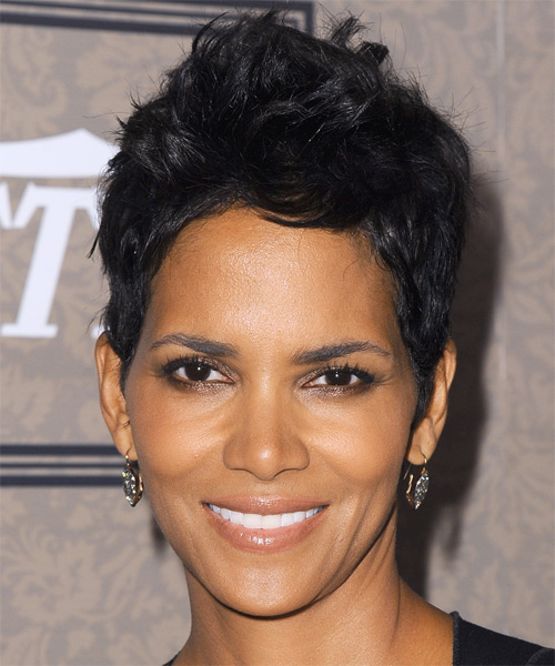 Halle Berry Short Straight Casual Hairstyle - Black (Ash) Hair Color