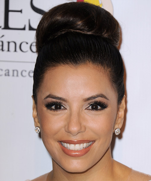 Eva Longoria Straight Formal Updo Hairstyle - Dark Brunette (Mocha) Hair Color