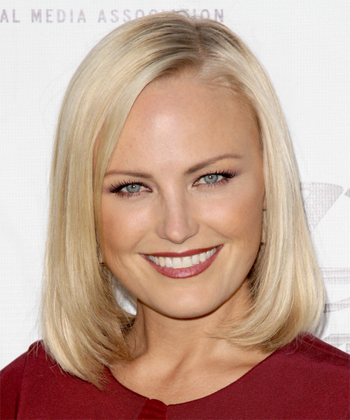 Malin Akerman Medium Straight Formal Bob Hairstyle - Light Blonde Hair Color
