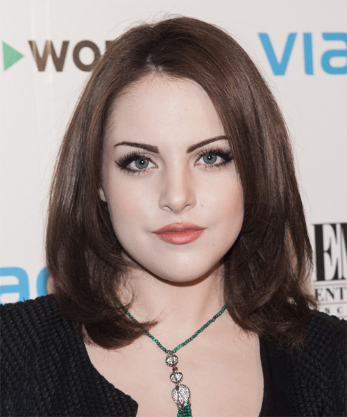 Elizabeth Gillies Medium Straight Hairstyle - Dark Brunette (Chocolate)