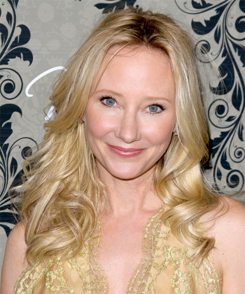 Anne Heche Long Wavy Hairstyle - Medium Blonde (Golden)
