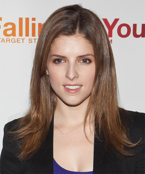 Anna Kendrick Long Straight Casual Hairstyle - Medium Brunette (Caramel) Hair Color