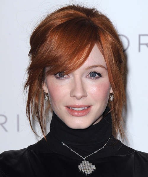 Christina Hendricks Straight Casual Updo Hairstyle with Side Swept Bangs - Dark Red (Copper) Hair Color