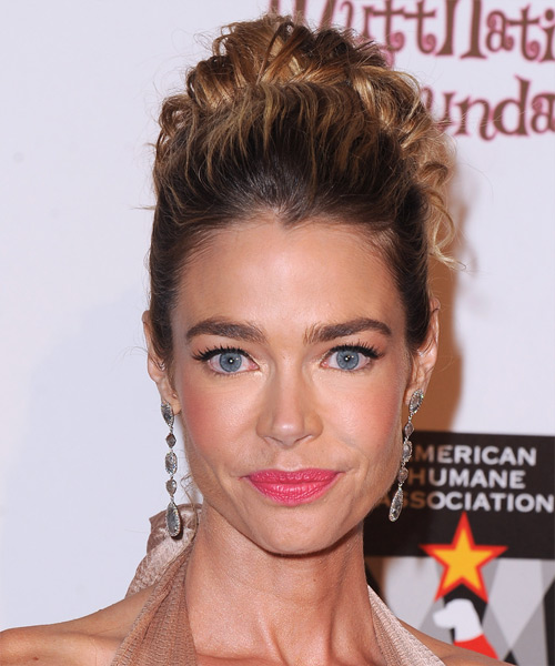 Denise Richards Updo Long Curly Formal Wedding - Dark Brunette (Mocha)