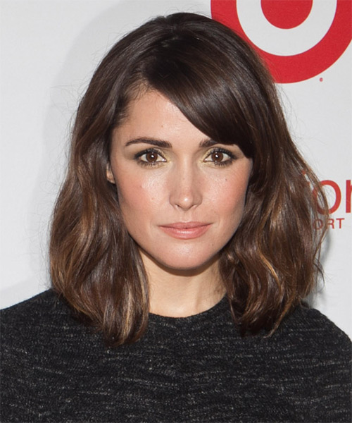 Rose Byrne Medium Straight Casual Bob Hairstyle with Side Swept Bangs - Dark Brunette (Chocolate) Hair Color