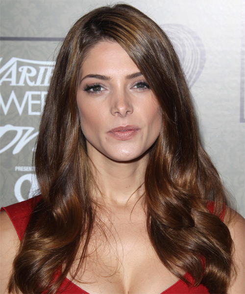 Ashley Greene Long Straight Formal Hairstyle - Medium Brunette (Chocolate) Hair Color