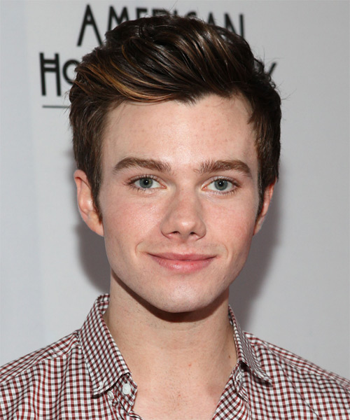 Chris Colfer Short Straight Hairstyle - Medium Brunette (Auburn)