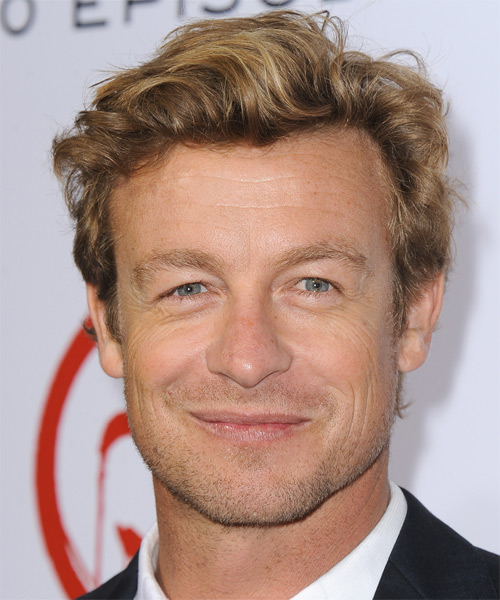 Simon Baker Short Wavy Casual Hairstyle - Dark Blonde (Golden) Hair Color