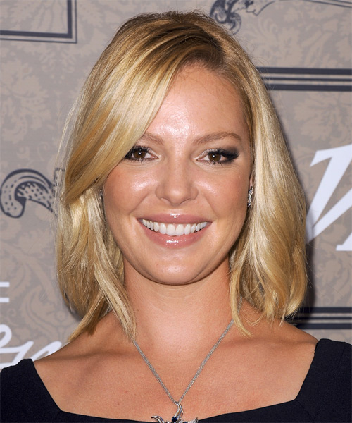 Katherine Heigl Medium Straight Bob Hairstyle - Light Blonde