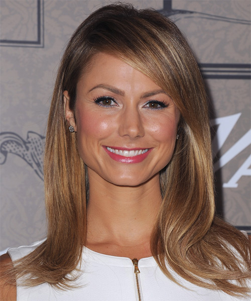 Stacy Keibler Long Straight Formal Hairstyle with Side Swept Bangs - Light Brunette (Caramel) Hair Color
