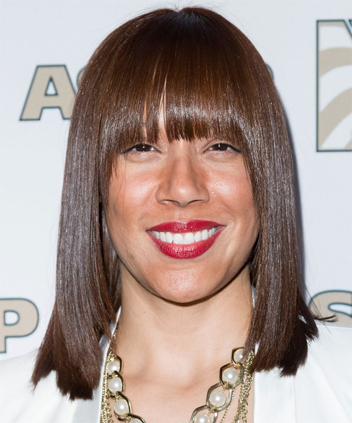Jessica Rivera Medium Straight Formal Hairstyle with Blunt Cut Bangs - Medium Brunette (Chocolate) Hair Color
