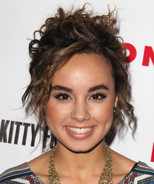 Savannah Jayde Casual Curly Updo Hairstyle - Dark Brunette