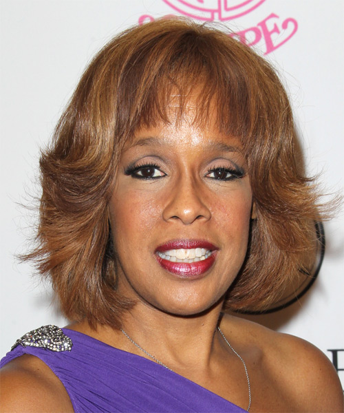 Gayle King Medium Straight Formal Hairstyle - Medium Brunette (Copper) Hair Color