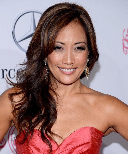Carrie-Ann Inaba Long Wavy Hairstyle - Dark Brunette (Mocha)