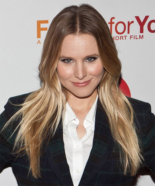 Kristen Bell Long Straight Casual Hairstyle - Light Brunette (Caramel) Hair Color