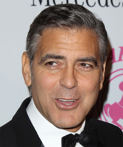 George Clooney Short Straight Hairstyle - Medium Grey