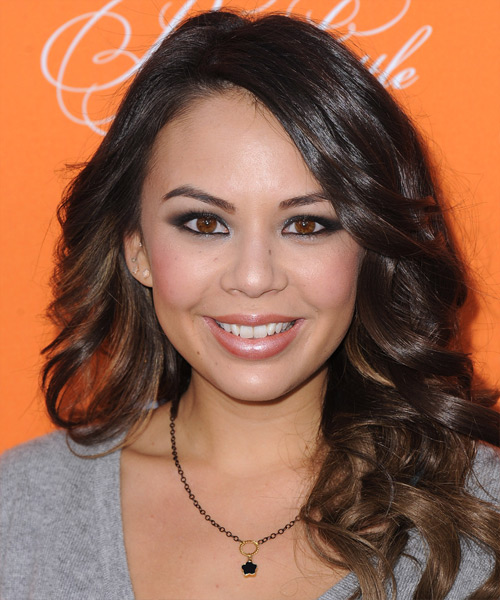 Janel Parrish Long Wavy Formal Hairstyle - Dark Brunette Hair Color