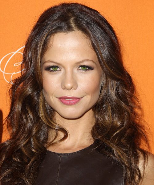 Tammin Sursok Long Wavy Casual Hairstyle - Medium Brunette (Auburn) Hair Color