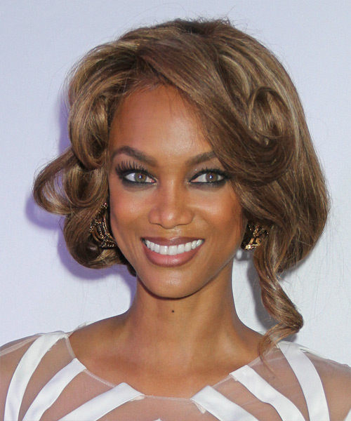 Tyra Banks Curly Formal Updo Hairstyle with Side Swept Bangs - Medium Brunette (Caramel) Hair Color