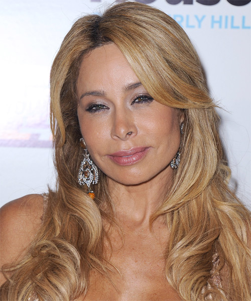 Faye Resnick Long Straight Formal Hairstyle with Side Swept Bangs - Medium Blonde (Golden) Hair Color