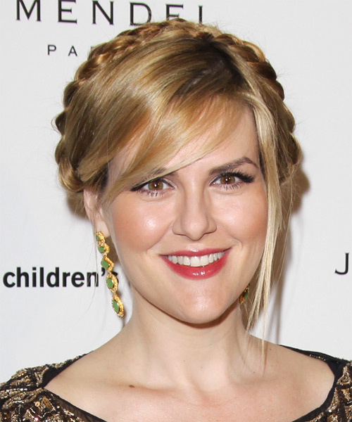 Sara Rue Casual Straight Updo Braided Hairstyle - Dark Blonde