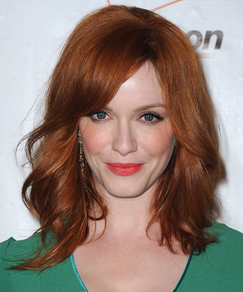 Christina Hendricks Medium Straight Casual Hairstyle - Medium Red (Copper) Hair Color