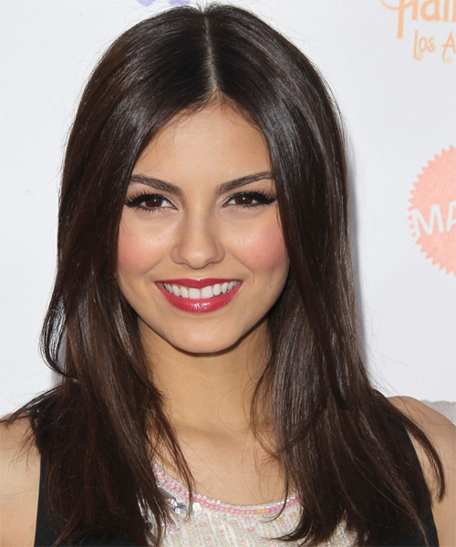 Victoria Justice Long Straight Hairstyle - Dark Brunette (Mocha)