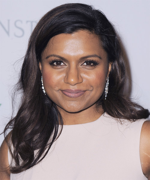 Mindy Kaling Long Straight Casual Hairstyle - Dark Brunette Hair Color