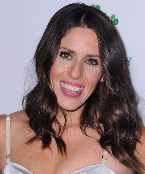 Soleil Moon Frye Long Wavy Casual Hairstyle - Dark Brunette Hair Color