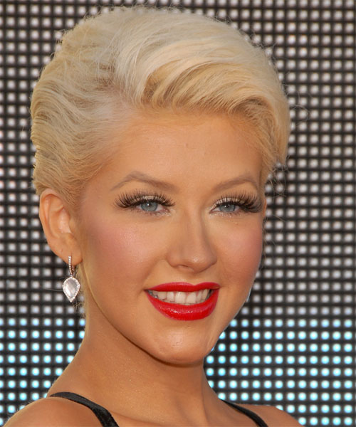 Christina Aguilera Formal Straight Updo Hairstyle