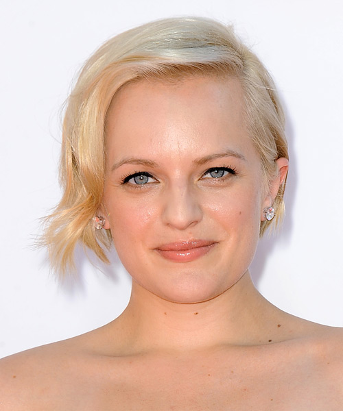 Elisabeth Moss Short Straight Bob Hairstyle - Light Blonde
