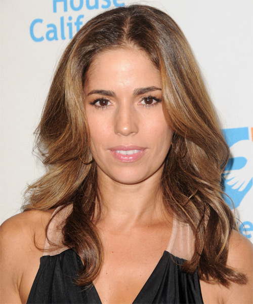 Ana Ortiz Long Wavy Formal Hairstyle - Medium Brunette (Caramel) Hair Color