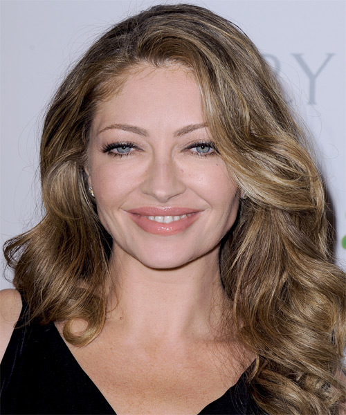 Rebecca Gayheart Long Wavy Casual Hairstyle - Light Brunette (Caramel) Hair Color