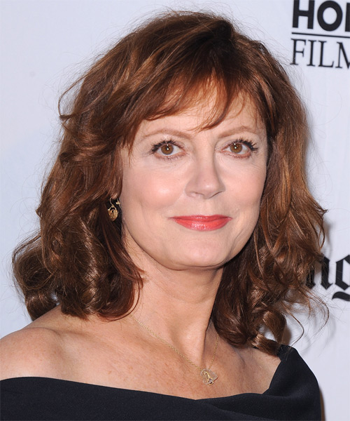 Susan Sarandon Medium Wavy Casual Hairstyle with Layered Bangs - Medium Red (Mahogany) Hair Color