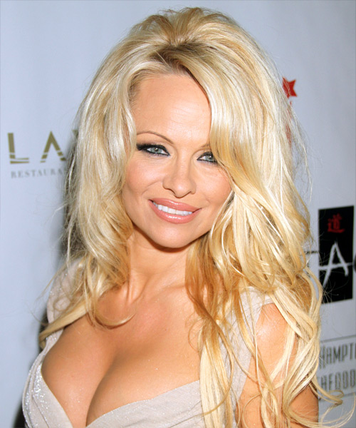 Pamela Anderson Long Straight Formal Hairstyle - Light Blonde (Honey) Hair Color