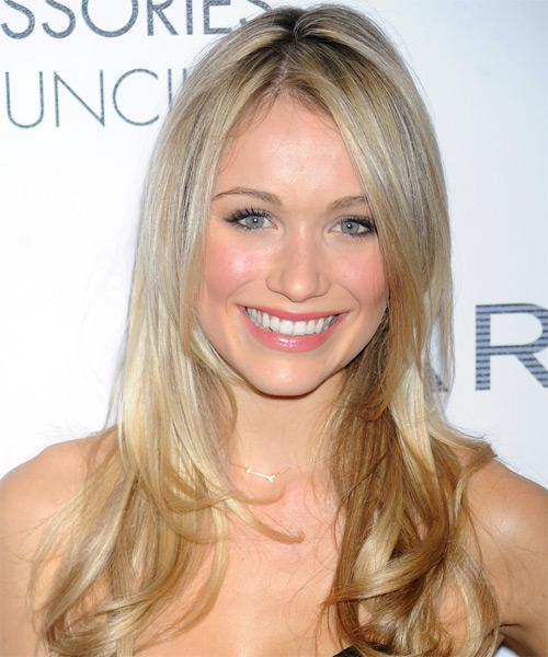 Katrina Bowden Long Straight Hairstyle - Light Blonde (Champagne)
