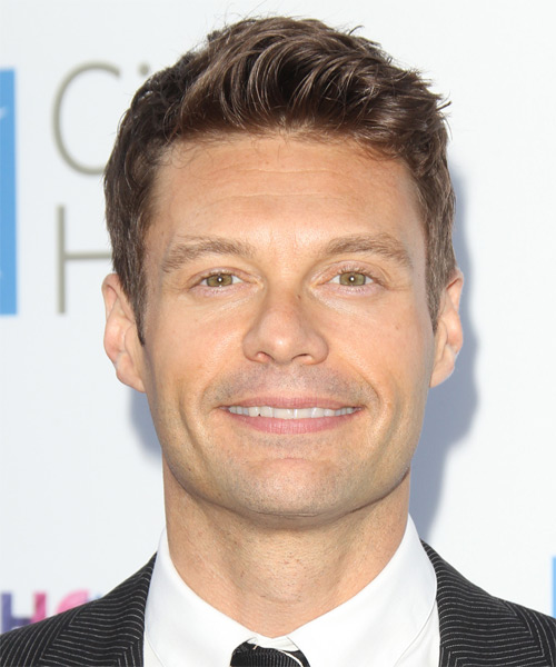 Ryan Seacrest Short Straight Hairstyle - Medium Brunette (Chestnut)