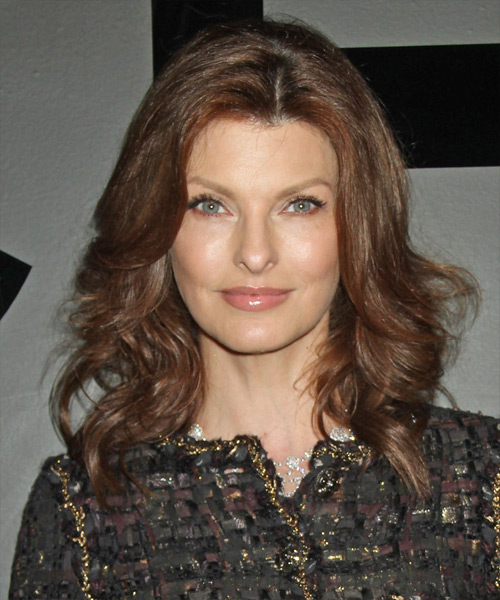 Linda Evangelista Medium Wavy Formal Hairstyle - Medium Brunette (Chestnut) Hair Color