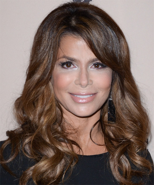 Paula Abdul Long Wavy Formal Hairstyle with Side Swept Bangs - Dark Brunette (Chocolate) Hair Color