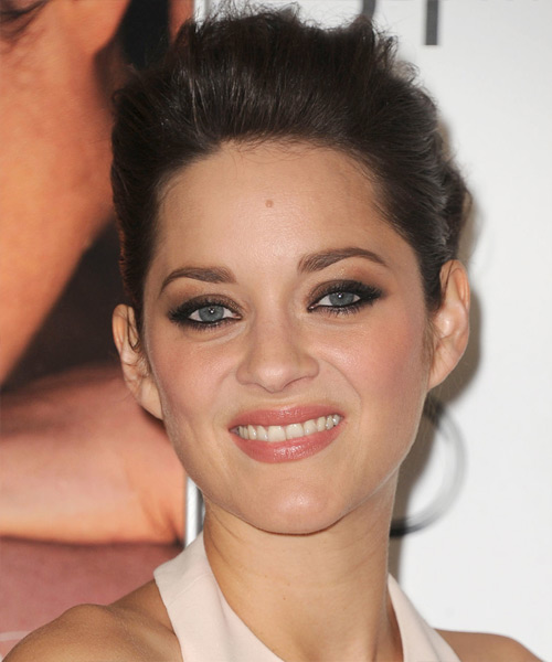 Marion Cotillard Straight Formal Updo Hairstyle - Dark Brunette (Mocha) Hair Color