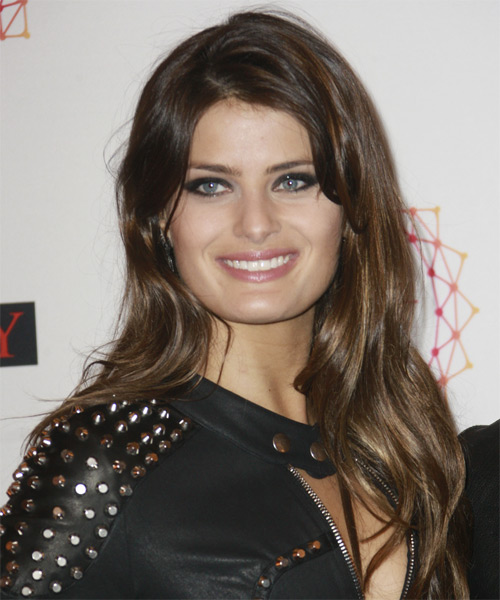Isabeli Fontana Long Straight Casual Hairstyle - Medium Brunette (Chestnut) Hair Color