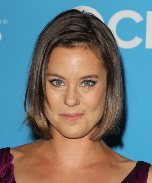 Ashley Williams Medium Straight Casual Bob Hairstyle - Medium Brunette (Chestnut) Hair Color