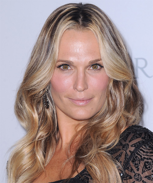 Molly Sims Long Wavy Casual Hairstyle - Medium Blonde (Honey) Hair Color