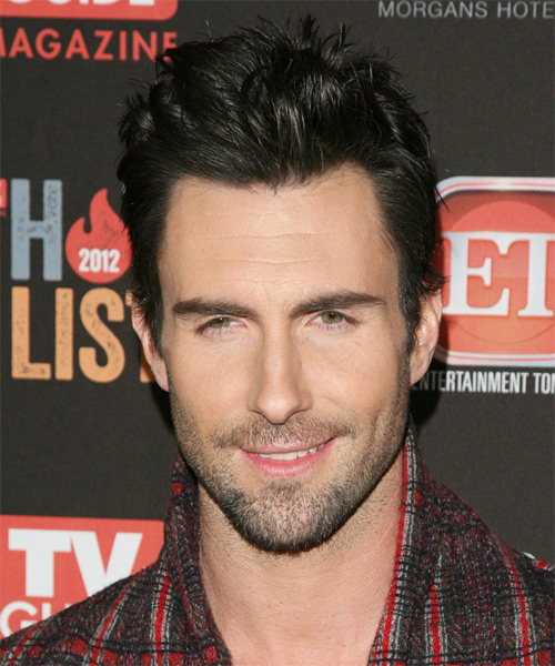Adam levine short straight hairstyle black hair color adam levine short straight casual hairstyle black hair color urmus