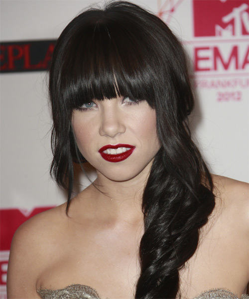 Carly Rae Jepsen Long Wavy Formal Hairstyle with Blunt Cut Bangs - Dark Brunette Hair Color