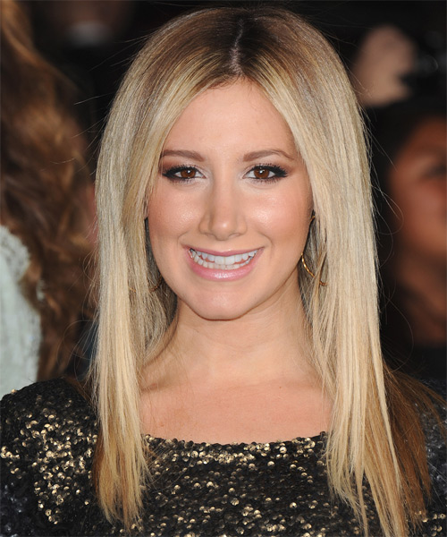 Ashley Tisdale Long Straight Casual Hairstyle - Medium Blonde Hair Color