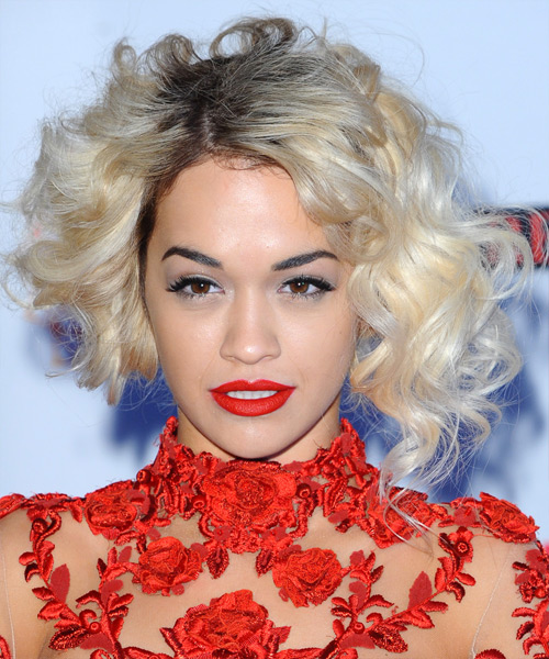 Rita Ora Short Curly Hairstyle - Light Blonde