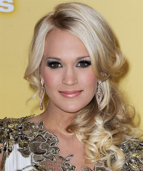Carrie Underwood Curly Formal Half Up Hairstyle with Side Swept Bangs - Light Blonde (Champagne) Hair Color