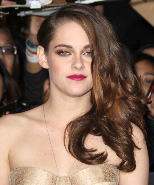 Kristen Stewart Long Wavy Hairstyle - Medium Brunette (Auburn)